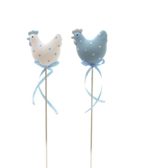 Cromus - Picks Resina Galinha Azul e Branco - 1 Pacote com 8 Unidades