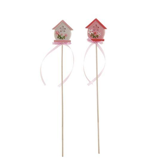 Cromus - Casinha Rosa Claro e Branco ( Picks Resina ) - 6 Jogos com 6 Peças