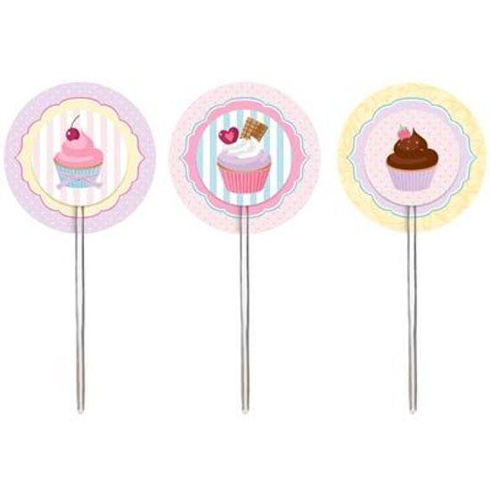 Festa Patisserie - Cromus Patisserie - Pick para Cupcake 12 unidades FL - Cromus Patisserie - Pick para Cupcake 12 unidades