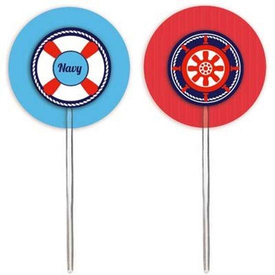 Festa Marinheiro - Cromus Marinheiro - Pick para Cupcake 12 unidades FL - Cromus Marinheiro - Pick para Cupcake 12 unidades