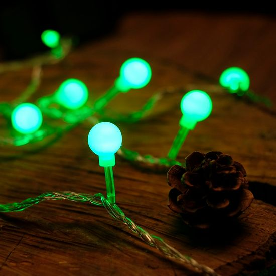 Iluminação de Natal - Pisca Pisca com 20 Leds Bola com - Fio Incolor Verde Claro 127V