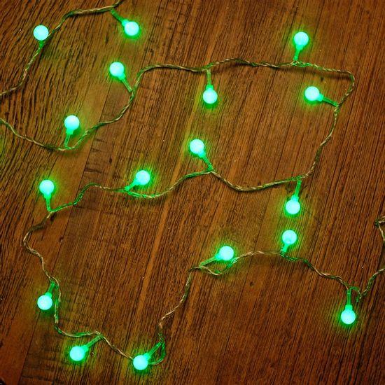 Iluminação de Natal - Pisca Pisca com 20 Leds Bola com - Fio Incolor Verde Claro 220V