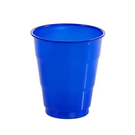 Copo Plástico 210ml Happy Line Azul Royal - 10 unidades