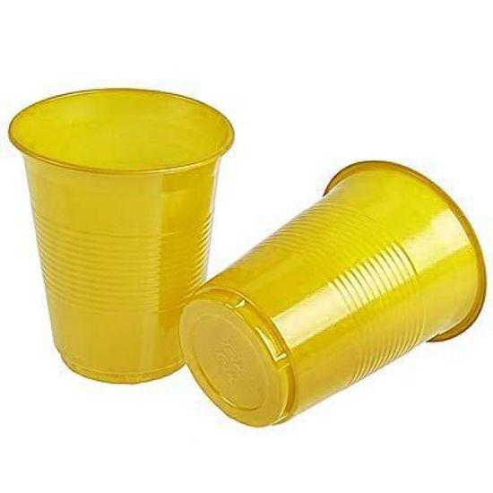 Copo Descartável Color 200ml Amarelo - 50 unidades