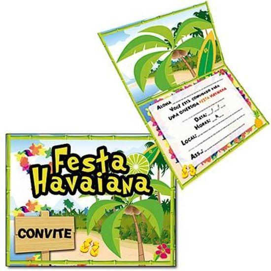 Convite Especial Festa Havaiana - 08 unidades