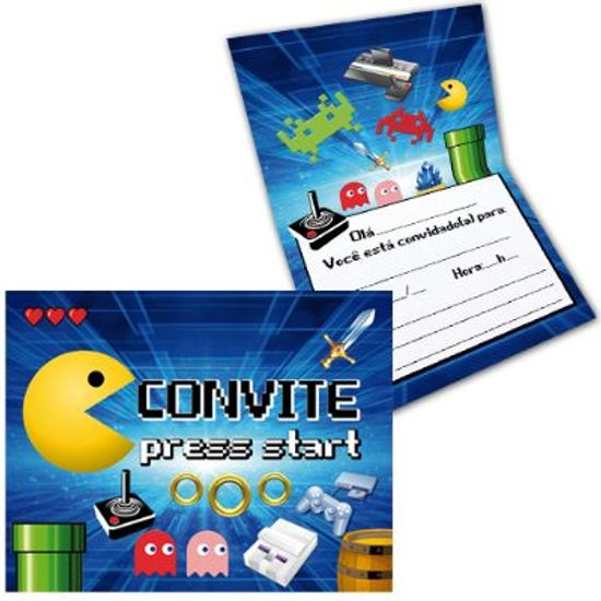 Festa Games - Convite Especial Games - 08 unidades Convite Especial Games - 08 unidades
