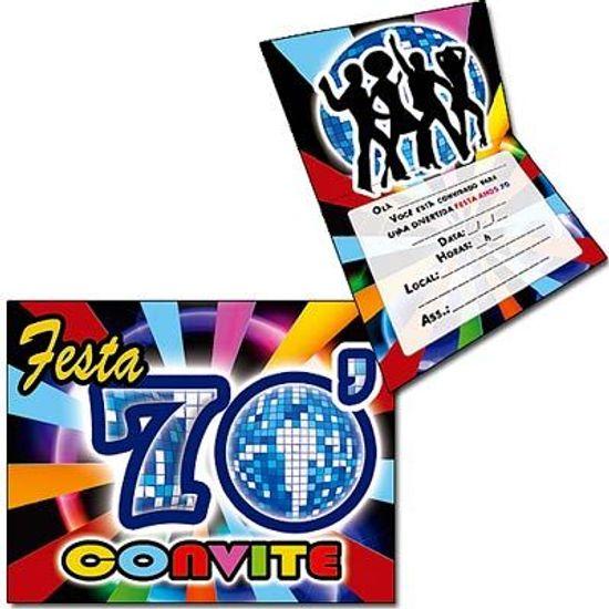 Convite Especial Anos 70 - 08 unidades