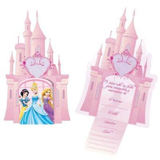 Festa Princesas Disney - Convite de Aniversário Princesas Debut 08 unidades FL - Convite de Aniversário Princesas Debut 08 unidades