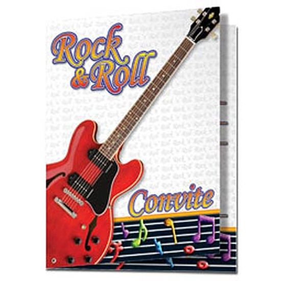 FL - Convite de Aniversário Festa Rock and Roll - 08 unidades