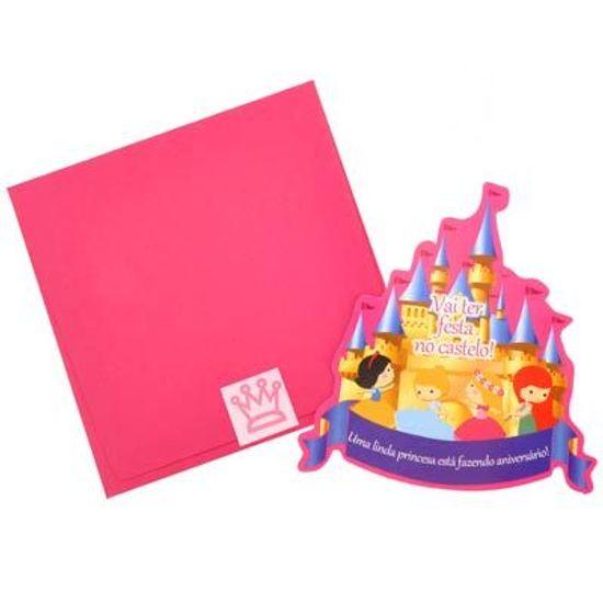 Festa Princesas Disney - Convite de Aniversário com Envelope Castelo Encantado 06 unidades FL - Convite de Aniversário com Envelope Castelo Encantado 06 unidades