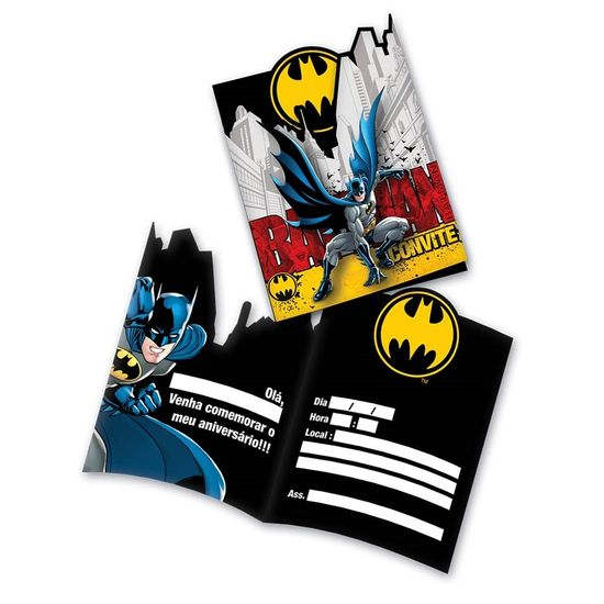 Festa Batman - Convite de Aniversário Batman Clássico - 08 unidades Convite de Aniversário Batman Clássico - 08 unidades