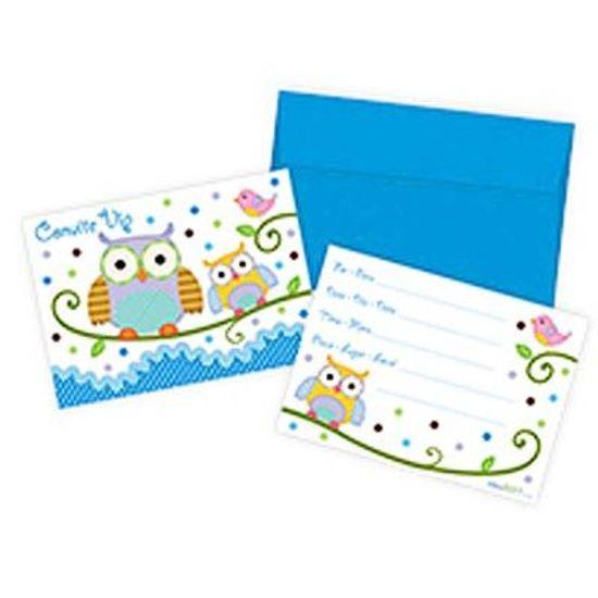 Festa Corujinha Azul e Rosa - Convite com Envelope Corujinha Azul - 08 unidades FL - Convite com Envelope Corujinha Azul - 08 unidades
