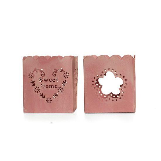 Pipoca doce Rosa ( Porta Velas em Metal ) - 8 Un