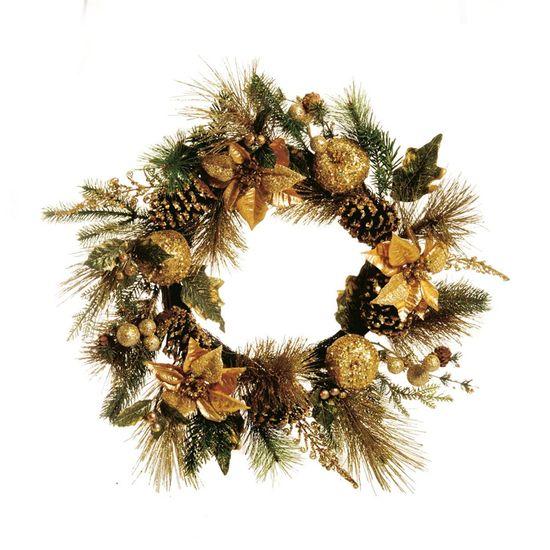 Guirlanda de Natal com Pinha Ouro (Guirlanda de Natal Decoradas)  - 1 Unidade