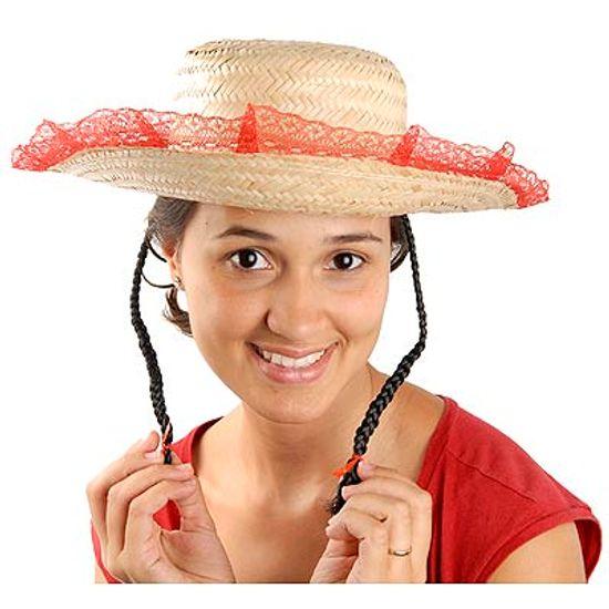 Chapéu Caipirinha de Palha com Trança