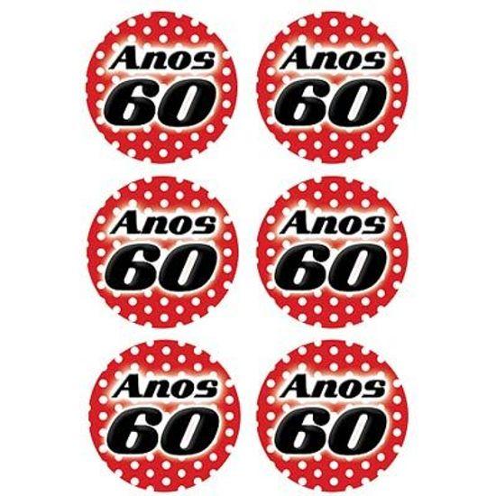 Adesivo Especial Redondo Anos 60 - 12 Un