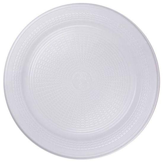 Prato Descartável Sobremesa Color Plástico Branco - 10 Un