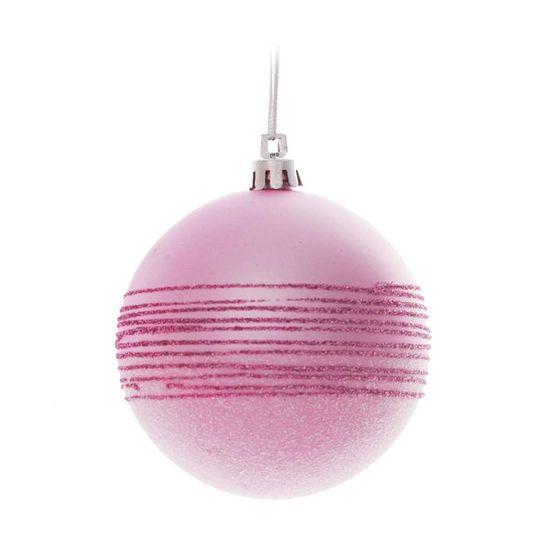 Bola com Açúcar e Listras Rosa 8 cm (Bolas)  - 1  Jogo com 6 Peças