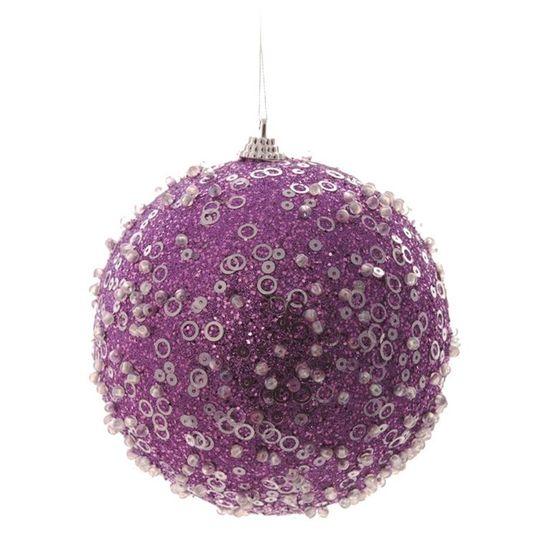 Bola de Natal Açucarada Roxo 8cm (Bolas) - Jogo com 6 Peças
