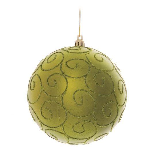 Bola de Natal com Arabesco Verde Bandeira 12cm (Bolas) - Jogo com 2 Peças
