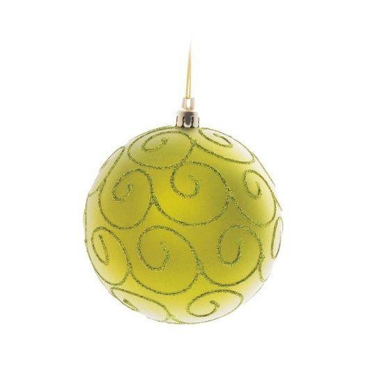 Bola de Natal com Arabesco Verde Bandeira 10cm (Bolas) - Jogo com 4 Peças