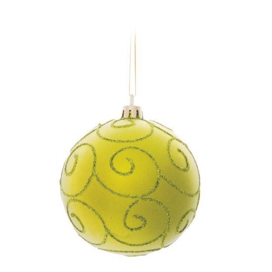 Bola de Natal com Arabesco Verde Bandeira 8cm (Bolas) - Jogo com 6 Peças
