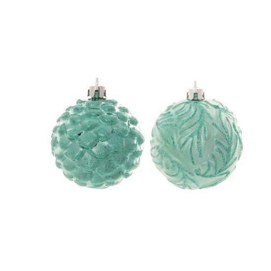 Bola com Listras e Glitter Azul Turquesa 10 cm (Bolas)  - 1  Jogo com 4 Peças
