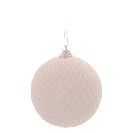 Bola de Natal Quadriculada Branco 10cm (Bolas) - Jogo com 6 Peças