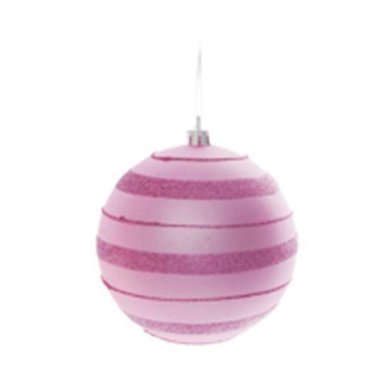Bola de Natal com Listras e Glitter Rosa Claro 10cm (Bolas) - Jogo com 4 Peças