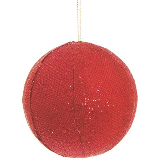 Bola de Natal de Juta Vermelho 10cm (Bolas) - 3 Unidades