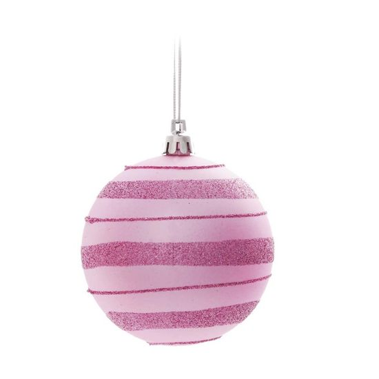Bola de Natal com Listras e Glitter Rosa Claro 8cm (Bolas) - Jogo com 6 Peças