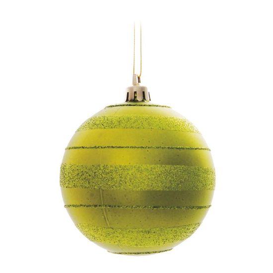 Bola de Natal com Listras e Glitter Verde Claro 8cm (Bolas) - Jogo com 6 Peças