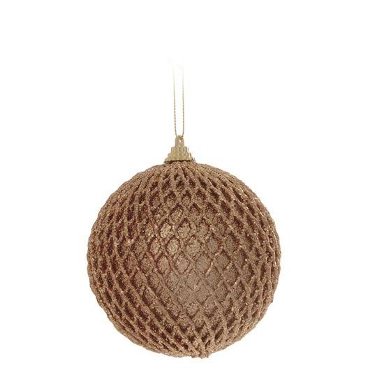 Bola de Natal Quadriculada Ouro 10cm (Bolas) - Jogo com 6 Peças