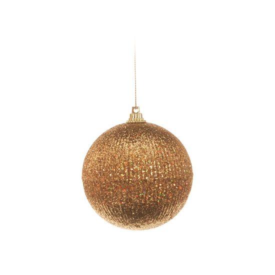 Bola de Natal com Listras Ouro 8cm (Bolas) - Jogo com 6 Peças