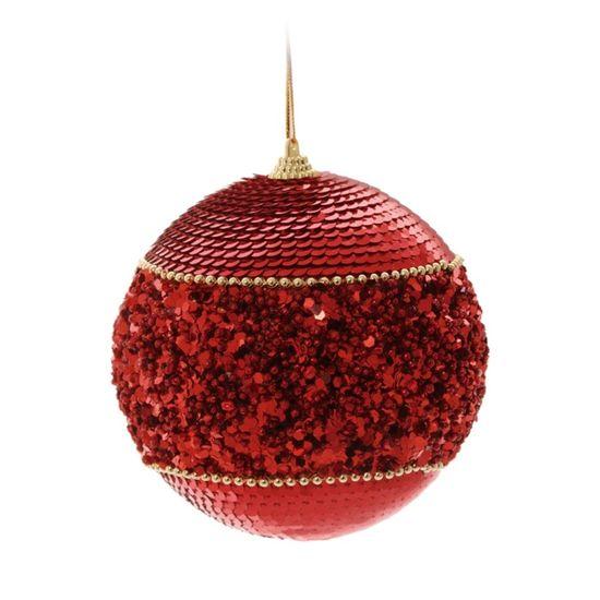 Bola de Natal com Latejoula Vermelho 6cm (Bolas) - Jogo com 6 Peças