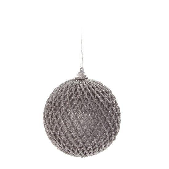 Bola Quadriculada Prata 10 cm (Bolas)  - 1  Jogo com 6 Peças