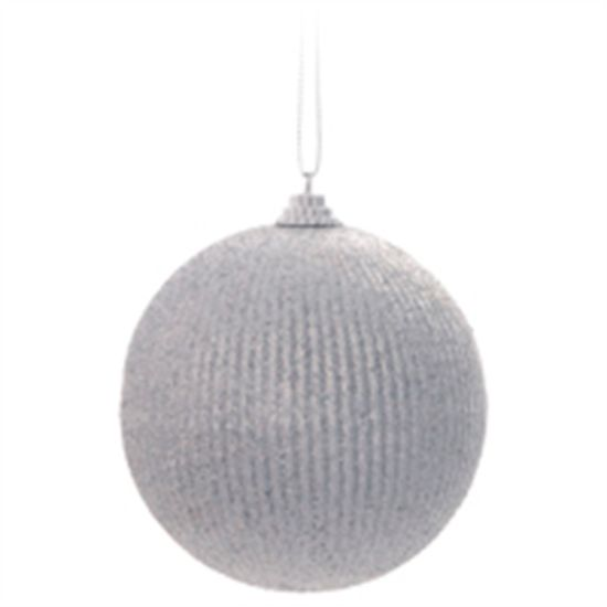 Bola com Listras Prata 8 cm (Bolas)  - 1  Jogo com 6 Peças
