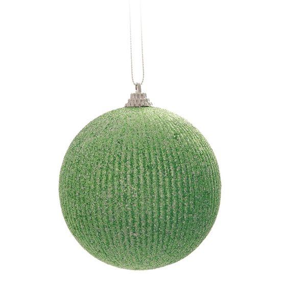 Bola de Natal com Listras de Glitter Verde Claro 8cm (Bolas) - Jogo com 6 Peças