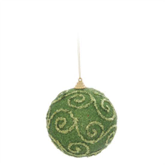 Bola de Natal com Arabesco Verde Claro 8cm (Bolas) - Jogo com 6 Peças