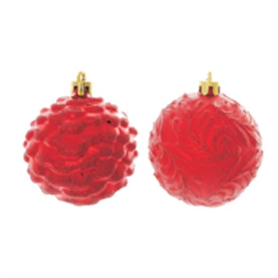 Bola de Natal com Ramos e Relevo Vermelho 8cm (Bolas) - Jogo com 6 Peças