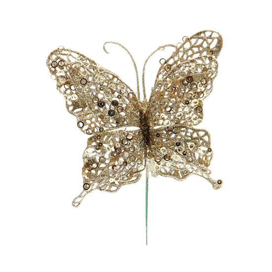 Pick Borboleta Glitter Ouro 23 cm (Borboletas)  - 12 Unidades