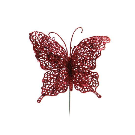 Pick Borboleta Glitter Vermelho 23cm (Borboletas) - 1 Unidade