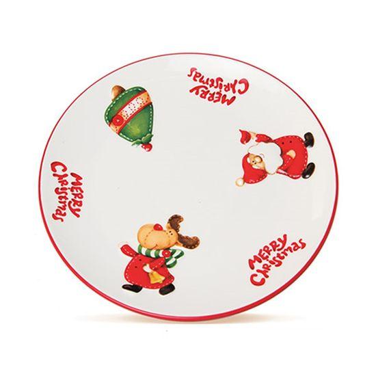 Prato Merry Christmas Vermelho e Branca (Candy Cane)  - 4 Unidades