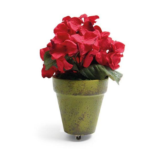 Hortência em Vaso com Clip Vermelho (Cereja)  - 6 Unidades