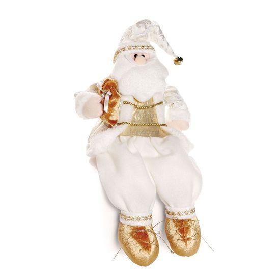 Papai Noel Sentado com Casaco Vermelho e Bege 45 cm ( Noéis)  - 1 Unidade