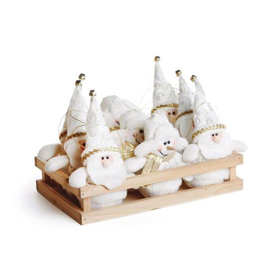 Mini Bonecos Noéis e Boneco Neve Branca (Dinamarca)  - 9 Unidades
