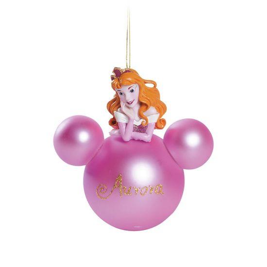 Natal Disney - Bola 3D Aurora Rosa Claro 8cm - Jogo com 2 Peças
