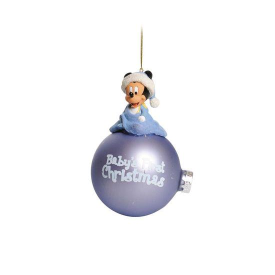 Natal Disney - Bola 3D Baby Mickey Azul Claro 8cm - Jogo com 2 Peças