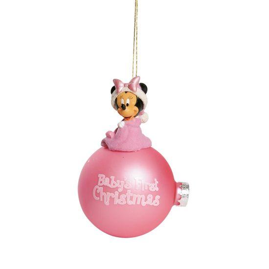 Natal Disney - Bola 3D Baby Minnie Rosa Claro 8cm - Jogo com 2 Peças