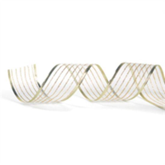 Fita Listras Branco e Ouro 6,3 cm x 9,14 mts (Fitas Natalinas) - 3 Unidades